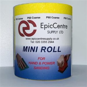 Yellow Ally Oxide Sandpaper P80 115mm x 10M Roll