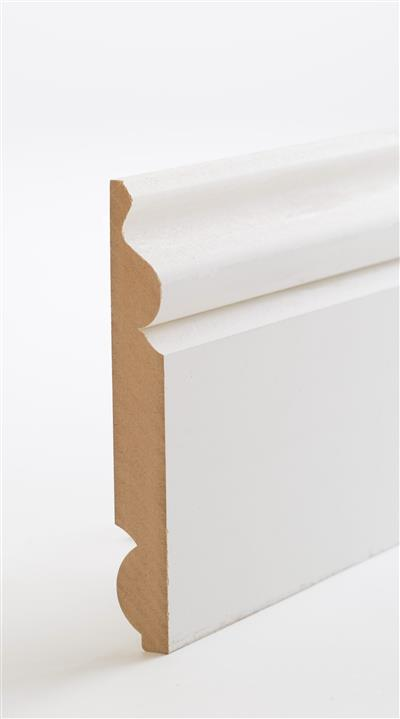 18 x 119mm x 4.2m Reversible Torus/Ogee Primed MDF Skirting