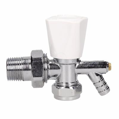 Pioneer Angled Radiator Valves (15mm Nut) with Drain Off 08mm angled with DOC
