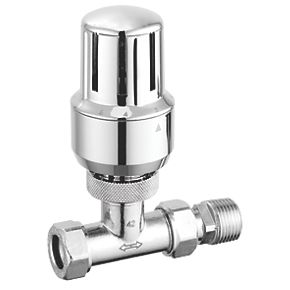 Callisto All Chrome 15mm Angled Thermostatic Radiator Valve