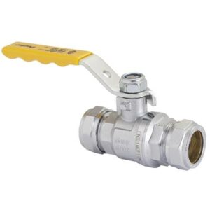 Lever Ball Valves (GAS Approved) 22mm Yellow Lever